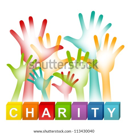 Colorful Charity Cube Box And Colorful Adult Raised Hands For Volunteer Concept Isolated on White Background - stock photo