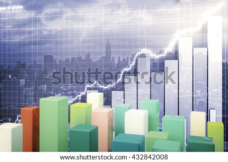 Colorful chart bars on abstract business graph and city background. 3D Rendering