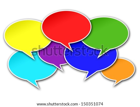 Colorful chat bubbles conversation crowded on white background - stock photo