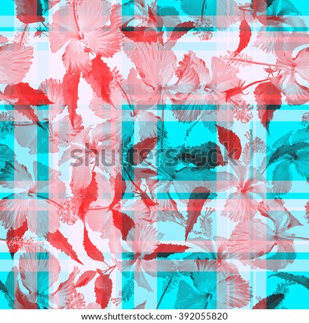 Colorful checkered floral seamless pattern. Watercolor floral background on a gingham background. - stock photo