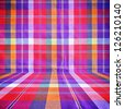 Colorful checkered loincloth fabric background - stock photo