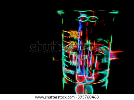 Colorful chemical cocktail, experimental background with neon lights in darkness, illustration in glow disco style of potion glass in the night, night lights fantasy illustration, colorful neon lines - stock photo