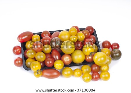 Colorful Cherry Tomatoes on White