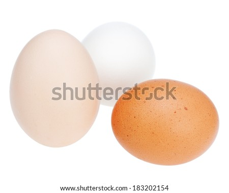 Colorful chicken eggs isolated on white background. Closeup.