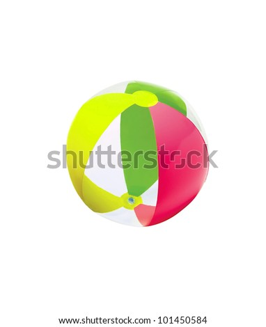 colorful child beach ball isolated on white - stock photo