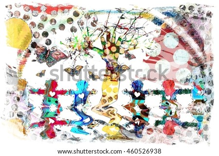 Colorful Child Like Illustration of a Paper Doll Chain Holding Hands with Butterflies a Rainbow and a Hand Print Tree