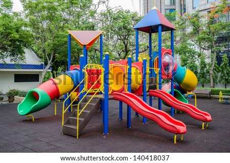 Colorful children's playground at public park ,Bangkok