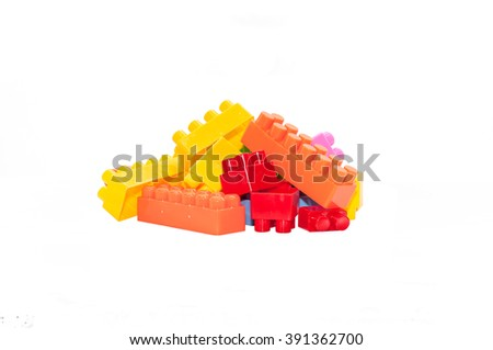 colorful children's toys,Plastic building blocks. This has clipping path - stock photo