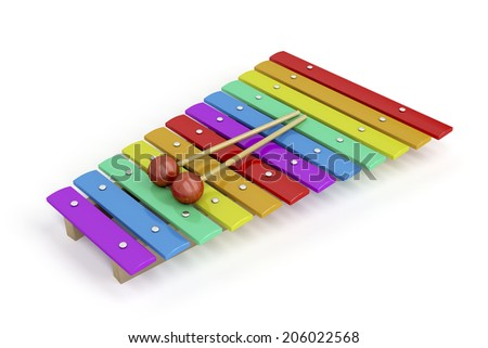 Colorful children's xylophone on white background - stock photo