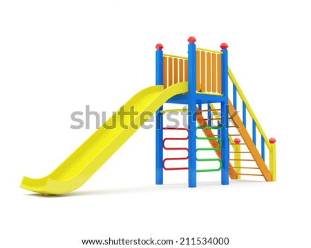 Colorful Children Slide isolated on white background - stock photo
