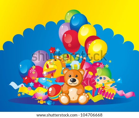 colorful children toys and balloons - stock photo