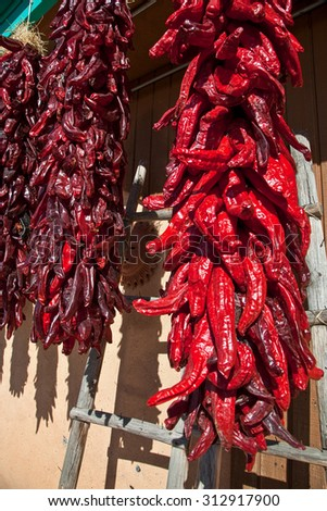 Colorful chili peppers hanging in the New Mexico sunshine - stock photo
