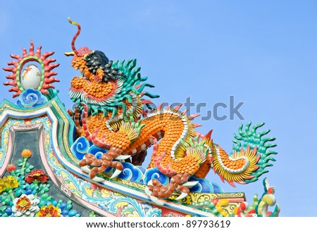 Colorful Chinese dragon on temple roof