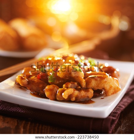 colorful chinese food with lens flare - stock photo