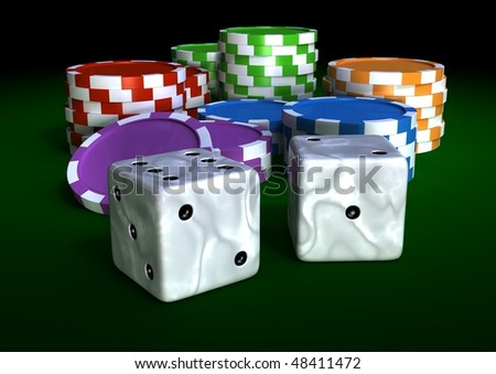 colorful chips on a green table - stock photo