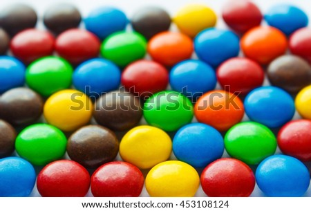 Colorful chocolate coated candy, selective focus