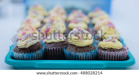 Colorful chocolate cupcakes