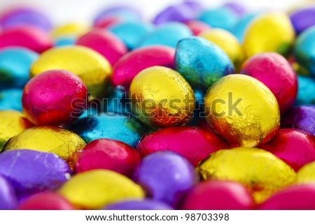 Colorful chocolate eggs - stock photo