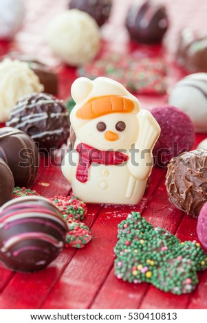 Colorful chocolates and chocolate truffles for christmas
