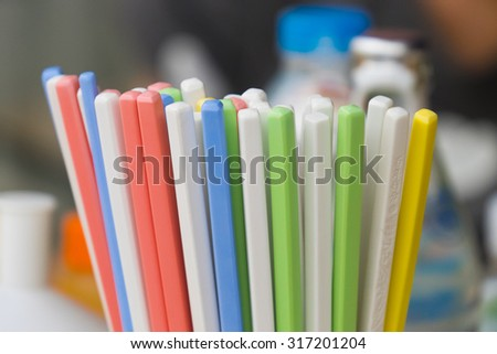 colorful chopstick in the restaurant