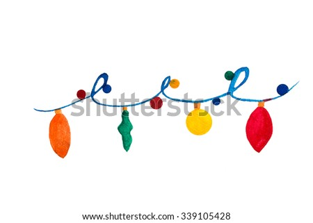 Colorful christmas and New Year torse. Raster illustration. Watercolor - stock photo