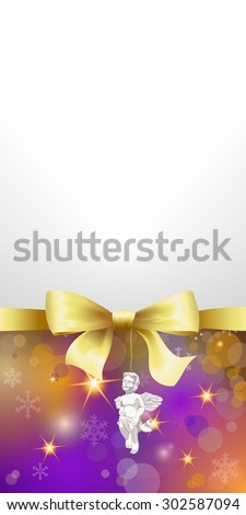 Colorful christmas background or banner with golden bow and cherub and space for your text  - stock photo