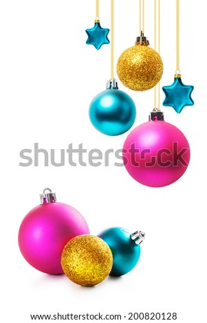 Colorful christmas balls and stars collection on white background - stock photo