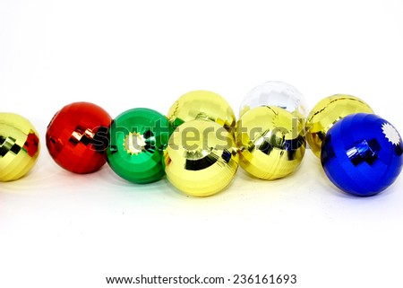 Colorful Christmas balls, isolated on white