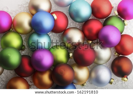 Colorful christmas baubles. Shallow focus.