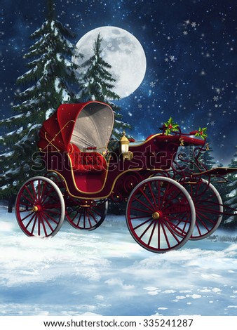 Colorful Christmas carriage in a winter forest at night