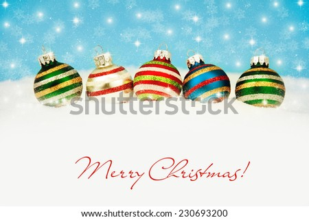 Colorful  christmas decoration baubles on white. - stock photo