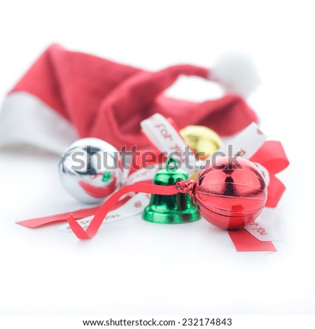 Colorful christmas decoration  on white