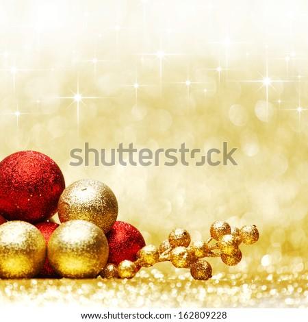 Colorful Christmas decoration over shiny stars background - stock photo