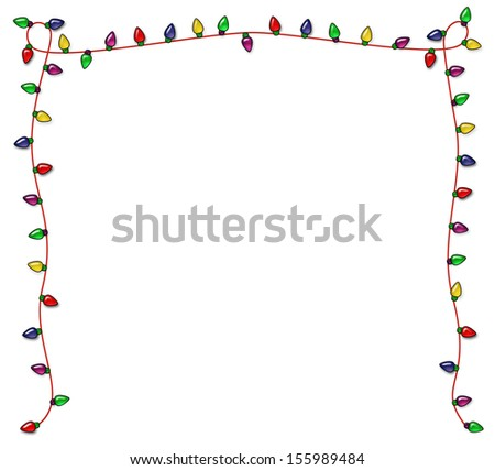 Colorful Christmas frame of multicolored lights - stock photo