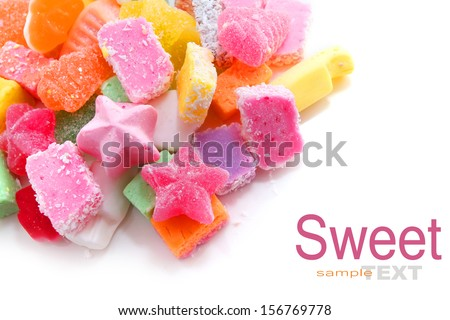 Colorful Christmas Mixed Candies on white - stock photo