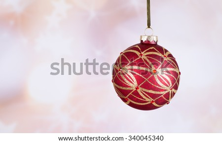 Colorful Christmas ornament with a bright background - stock photo
