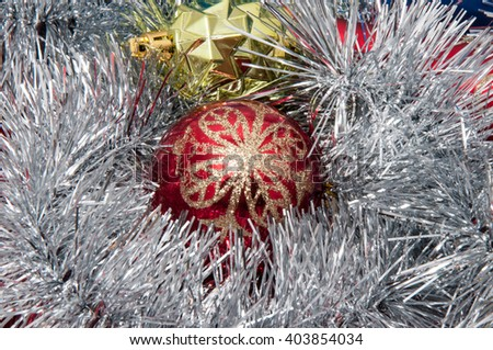 Colorful Christmas ornaments for the Christmas tree
