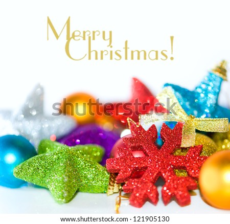 colorful christmas ornaments on a white background - stock photo