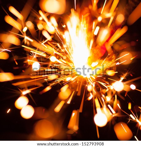 colorful christmas sparkler - stock photo