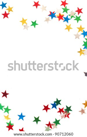 Colorful Christmas stars isolated on white background with copy space.