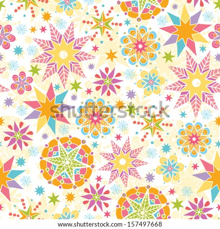 Colorful Christmas Stars Seamless Pattern Background Raster - stock photo