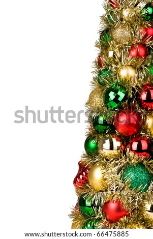 Colorful Christmas tree against white background for holiday decoration.