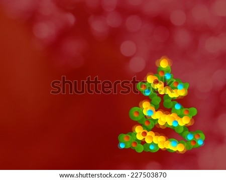 Colorful christmas tree card circle illustration with red abstract glittery background - stock photo