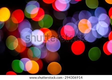 Colorful circle bokeh on dark bacground