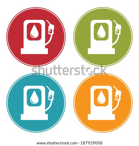 Colorful Circle Gasoline Station Icon, Sign or Symbol Isolated on White Background  - stock photo