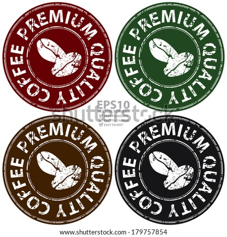 Colorful Circle Grunge Style Premium Quality Coffee Icon, Label, Stamp or Sticker Isolated on White Background  - stock photo