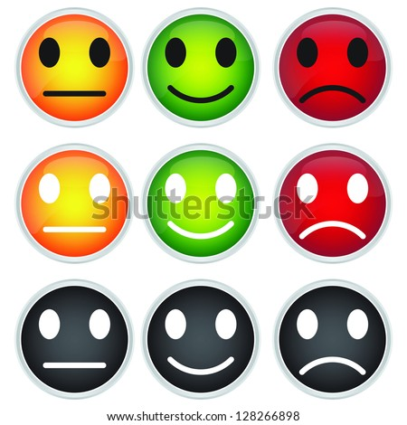 Colorful Circle Icon For Customer Satisfaction Survey Concept Isolated on White Background - stock photo