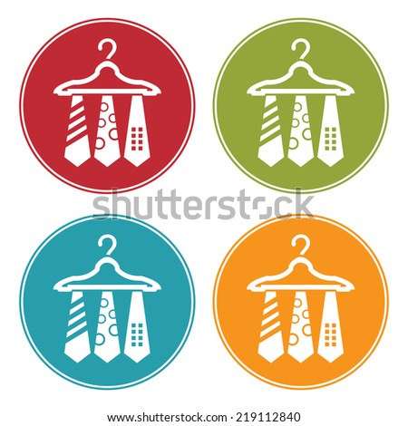 Colorful Circle Necktie Hanger Icon, Sign or Symbol Isolated on White Background  - stock photo