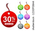 Colorful Circle 30 - 90 Percent OFF Sale Price Tag Isolated on White Background - stock vector