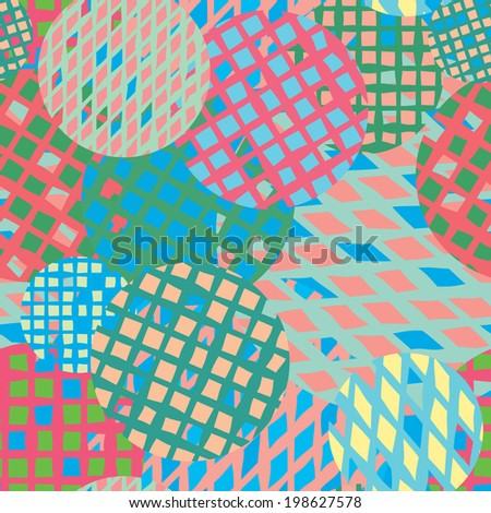 Colorful circles with grids. Seamless background.